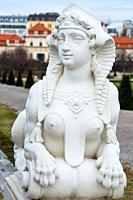 Sphinx in the Belvedere Palace gardens. Vienna, Austria.