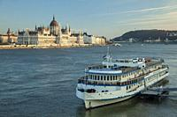 Hungarian Parliament seen across the Danube in Budapest, Hungary.