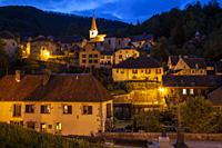 Evening in Lods village, Franche-Compte, France.