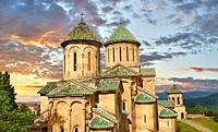 Pictures & images of Gelati Georgian Orthodox churches of (foreground) St George, 13th century, (behind) Church of the Virgin, 1106. The medieval Gela...