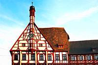 Building of Town Hall, close-up of tower clock, Rathausplatz - Town hall square, Forchheim, Franconian Switzerland, Upper Franconia, Franconia, Bavari...