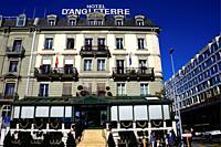 Quai du Mont -Blanc along Lake Geneva, Five-star luxury historic hotel Hôtel d'Angleterre, Geneva, Switzerland, Europe