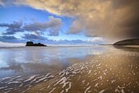The beach at Perranporth on the north coast of Cornwall, captured on a stormy afternoon in late March.