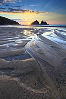 Sunset captured in March from the beach at Holywell Bay on the North Coast of Cornwall. The image was carefully composed to make the most of the pool'...