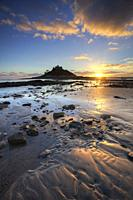 St Michael's Mount captured shortly before sunset in December, from the beach at Marazion in the west of Cornwall.