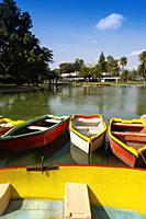 Lake, gardens and pleasure boats. University of Lisbon, Portugal. Europe.