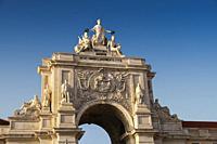 Triumphal Arch of Rua Augusta, Commerce Square. Lisbon, Portugal. Europe.