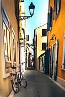 Tourist district of the old provincial town of Caorle in Italy on the Adriatic coast.