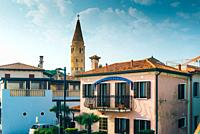 Belltower Duomo Santo Stefano on the seacoast coast in Caorle Italy.