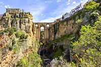 Panoramic of the Tajo de Ronda with the New Bridge, in Ronda, Andalucia, Spain.