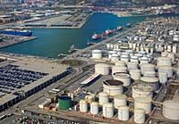 Aerial view of petroleum gas and oil depots storage area in Barcelona, Spain.