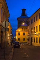 Atmospheric street in the Upper Town, Zagreb, Croatia.