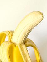 Close up of peeled banana.