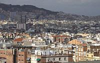 Barcelona suburbs skyline Spain.