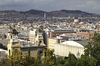 Barcelona cityscape view from Montjuic.