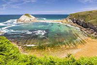 Covachos beach and Castro Island, Liencres, Cantabria, Spain.