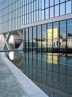 Italy, Lombardy, Milan, Piazza Adriano Olivetti Square, Fondazione Prada Foundation Reflected in the Window Building. . .