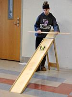 8th Grade Girl Testing Model Car, Forces and Motion Science Unit, Wellsville, New York, USA.