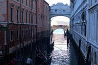 view of Bridge of Sighs and another bridge beyond, from a bridge on Riva degli Schiavoni not far from Piazza San Marco, Venice, Italy.
