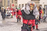 STUTTGART, GERMANY - MARCH 5: dreadful woodland monster mask at Carnival parade under light rain. Shot at Carnival parade in city center on march 5, 2...