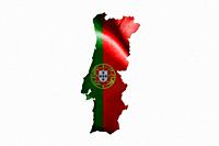 Portugal National Flag With Map Of Portugal Isolated On White Background 3D illustration.
