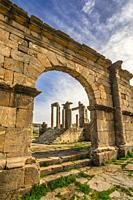 Algeria, Djemila City, Roman ruins of Djemila City, UNESCO, W. H. , The Capitol off the Cado Maximus.