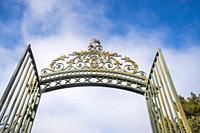 Open iron gate. San Ildefonso, Segovia province, Castilla Leon, Spain.