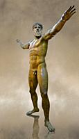 Greek Classical Period Bronze Statue of Zeus or Poseidon found in the sea of Cape Artemision of the north Eastern Euboea Island, Greece. The God is sh...