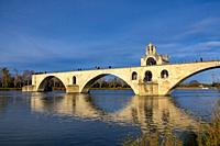 Pont Sant Benezet over Rhone River with Sunlight and Blue Sky in Avignon, Provence-Alpes-Cote d'Azur in France.