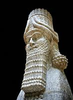 Stone statue of a winged bull. From city gate no 3, Inv AO 19859 from Dur Sharrukin the palace of Assyrian king Sargon II at Khorsabad, 713-706 BC. Lo...