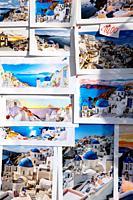 Postacards in Oia, Santorin, Greece, Europe.