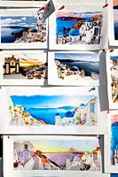 Postcards in Oia, Santorin, Greece, Europe.