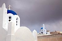 Churches with bluw roof in Pyrgos, Santorin, Greece, Europe.