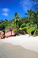 Beach on La Digue, Seychelles, Indian Ocean, Africa.