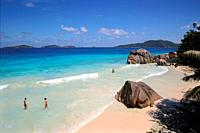 Beach on La Digue, Seychelles, Indian Ocean, Africa.
