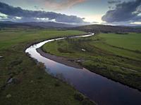 BONAR BRIDGE, SUTHERLAND, SCOTLAND, UK - Nov 2018 - Aerial drone image of the River Carron at the Kyle of Sutherland at Bonar Bridge Sutherland Scotla...