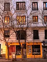 Facade of house. Narvaez street, Madrid, Spain.