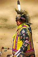 Male Native America warriors in ceremonial costumes at the Wa:k Pow Wow on the Tohono O'odham reservation in Arizona.