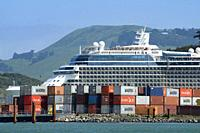 A cruise ship in Port Chalmers, New Zealand.
