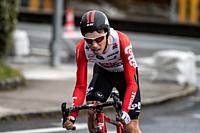 Bjorg Lambrecht at Zumarraga, at the first stage of Itzulia, Basque Country Tour. Cycling Time Trial race.