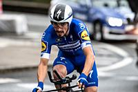 Julian Alaphilippe at Zumarraga, at the first stage of Itzulia, Basque Country Tour. Cycling Time Trial race.