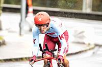 Ruben Guerreiro at Zumarraga, at the first stage of Itzulia, Basque Country Tour. Cycling Time Trial race.