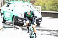 Julen Amezqueta Moreno at Zumarraga, at the first stage of Itzulia, Basque Country Tour. Cycling Time Trial race.