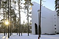 Paimio Sanatorium, designed by Finnish architect Alvar Aalto and completed 1933, is situated in pine forest area in Paimio, Finland. January 20, 2019.