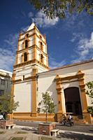 Bici Taxi in front of the Soledad Church- Iglesia De La Soledad at the historic center, Camagüey, Cuba, West Indies, Central America