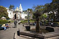 View to the Metropolitan Cathedral-Catedral Metropolitana at the Plaza De La Independencia-Independence Square at the historic center with a fountain ...