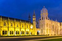 Mosteiro dos Jeronimos, Monastery of the Hieronymites at sunset, Unesco World Heritage Site, Belem district, Lisbon, Portugal.