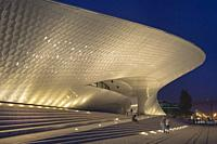 MAAT, Museum of Art Architecture and Technology at night, Belem district, Lisbon, Portugal.