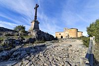 St. Frutos hermitage ruins at Duraton river gorge on a sunny day. Segovia. Spain. Europe.