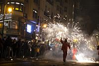 Correfoc. Fallas festival. València. Spain. 2019.
